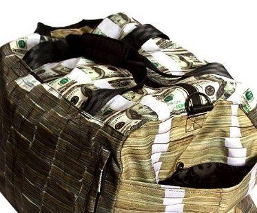 money stacks duffle bag holdell side