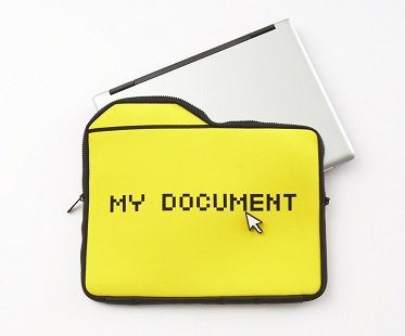 my documents laptop case sleeve yellow