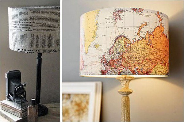 newspaper map lamps