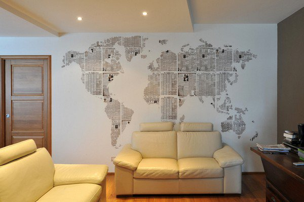 newspaper map wall