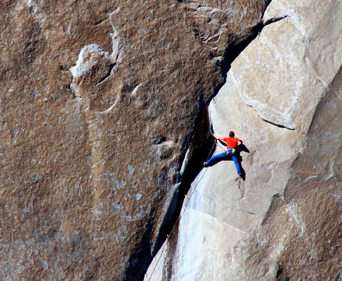 on rock face