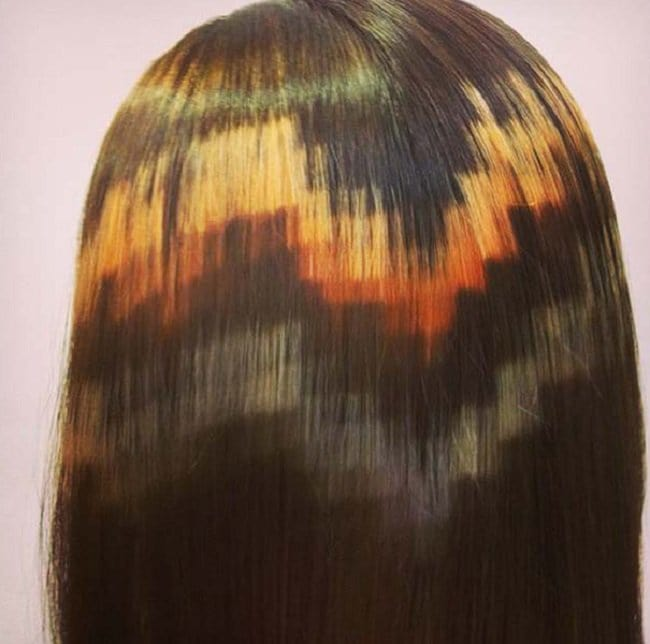 orange brown black pixelated hair