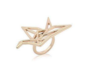origami crane ring gold