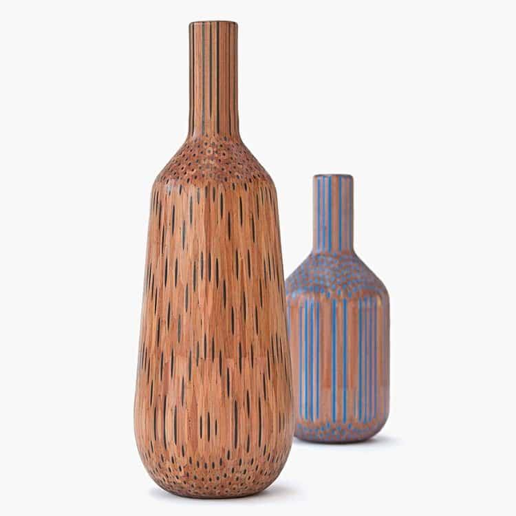 pair colorful brown pencil vases