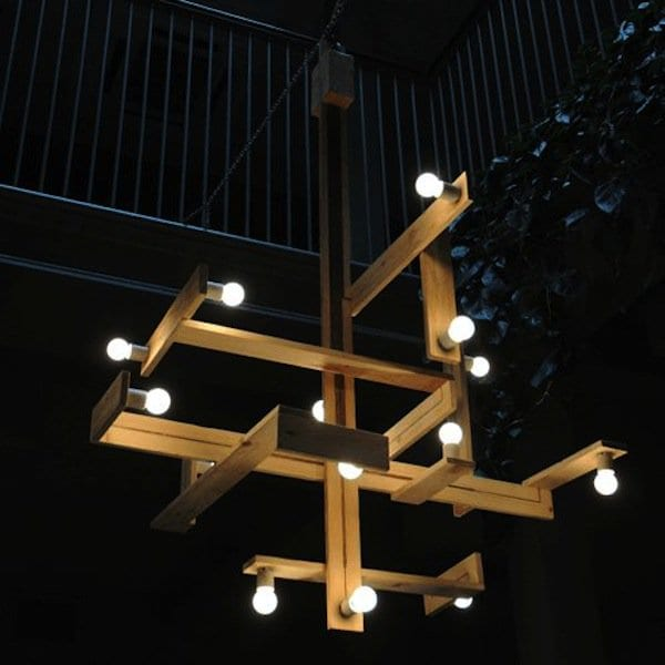 wood pallet-chandelier with light bulbs