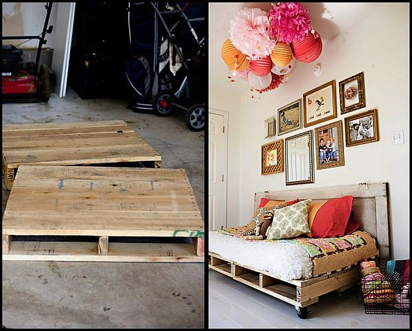 before and after wood pallet transformation daybeds