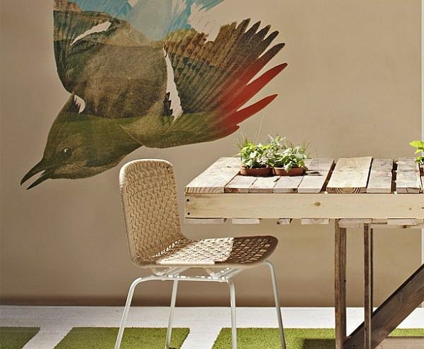 wood pallet dining table with chair and bird wall mural