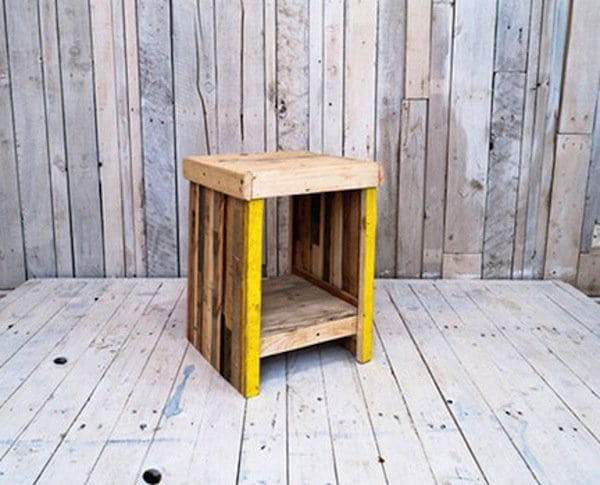 wood pallet end table with yellow stripes