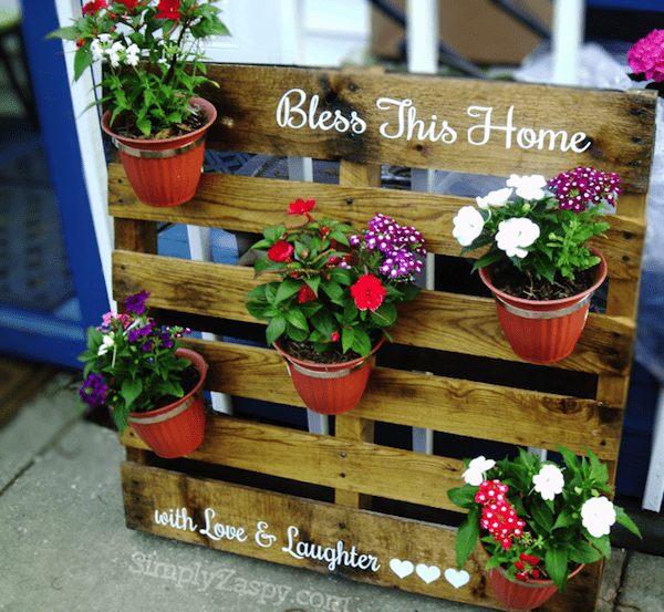 bless this home with love and laughter wood pallet planters display
