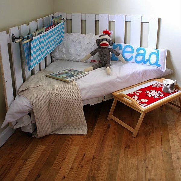 reading nook with monkey and food tray