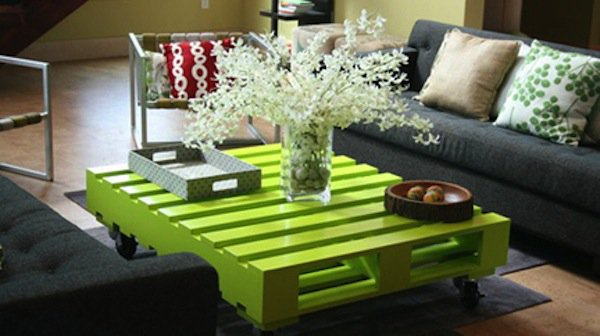 lime green wood pallet coffee table with flowers tray and bowl