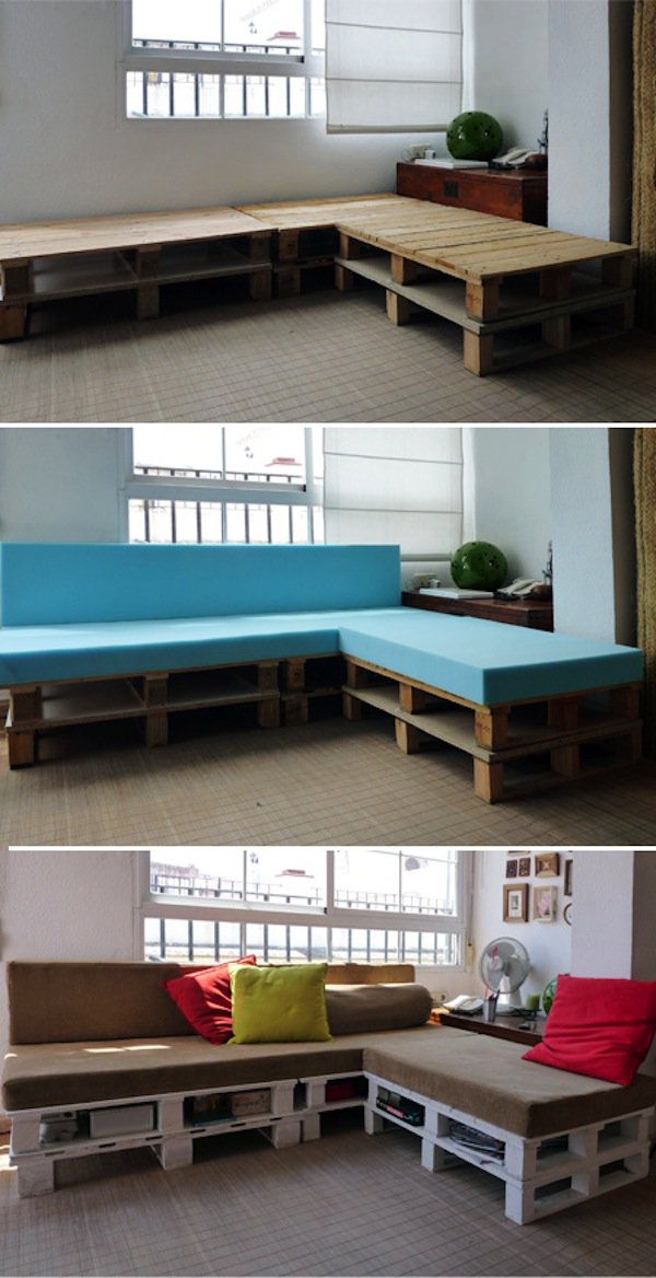 three steps wood pallet sofa transformation