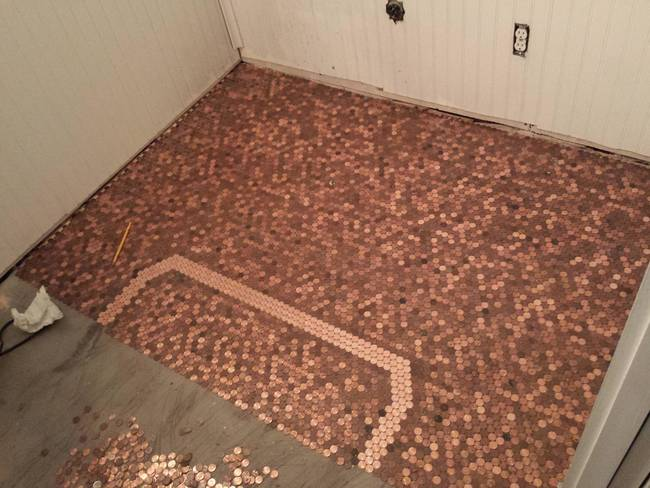 This Guy Made A Floor With Pennies And The Result Is Beautiful