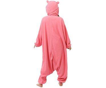 pink hippo onesie back
