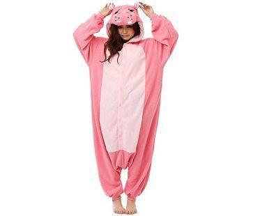 pink hippo onesie hood