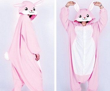 pink rabbit onesie back front