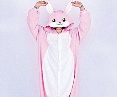 pink rabbit onesie front