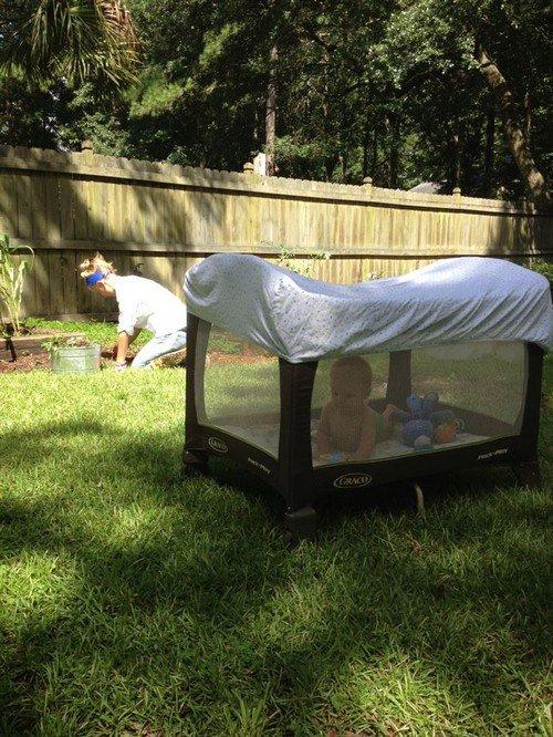 playpen outdoors mother