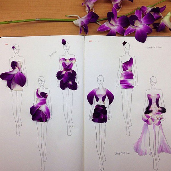 purple petal dresses