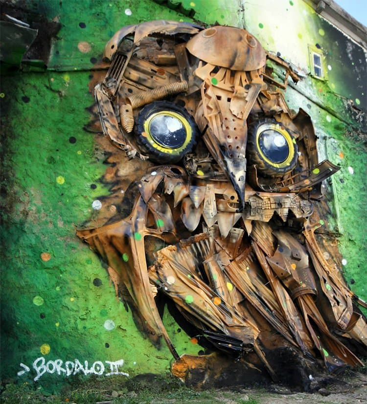 recycled-owl-sculpture-street-art-owl