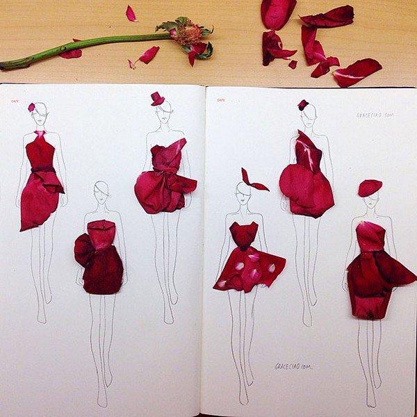 red petal dresses