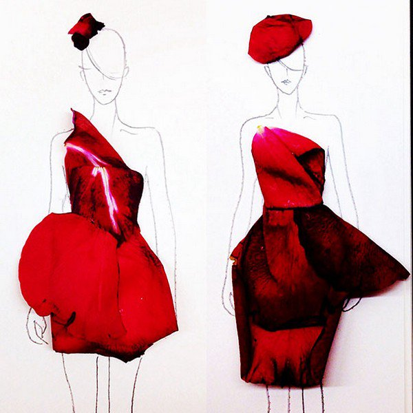 red petal hats dresses