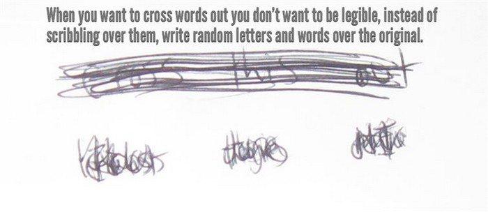 scribble over words