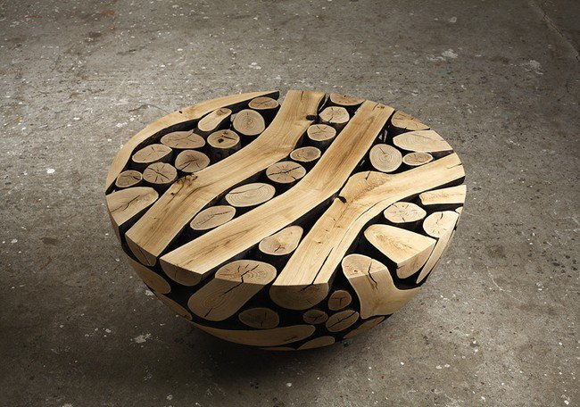 semi circle wooden sculpture