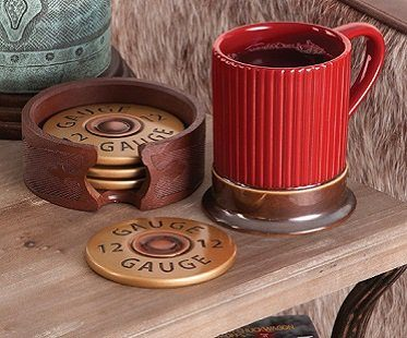 shotgun shell coasters mug