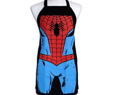 spiderman apron tied
