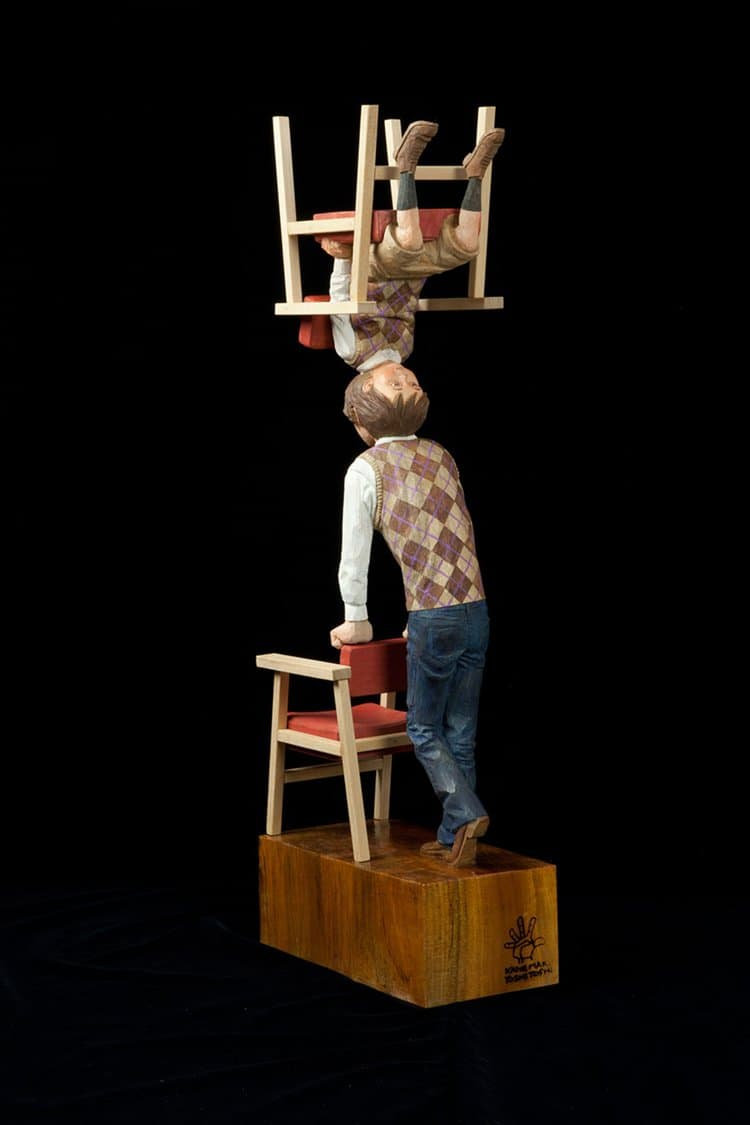 Yoshitoshi Kanemaki Creates Surreal Wooden Sculptures That