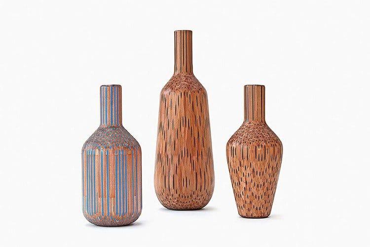 trio of pencil vases