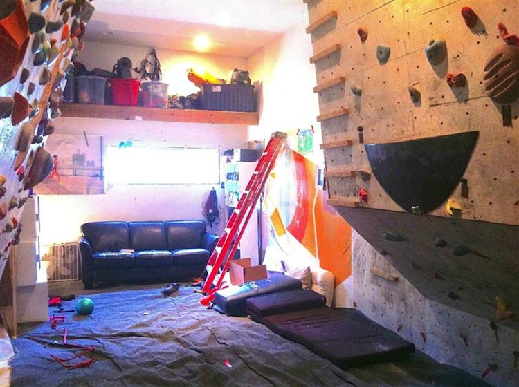 rock climbing family build their very own indoor rock climbing wall for their children. Black Bedroom Furniture Sets. Home Design Ideas