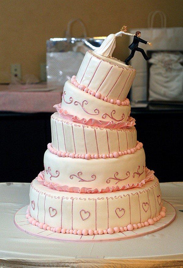 woman pushing man cake