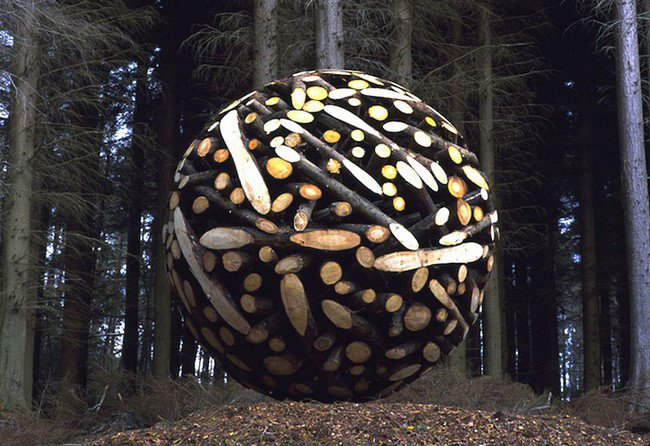 wooden ball sculpture