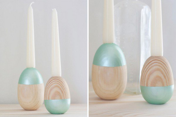 wooden egg paint dipped candle holders