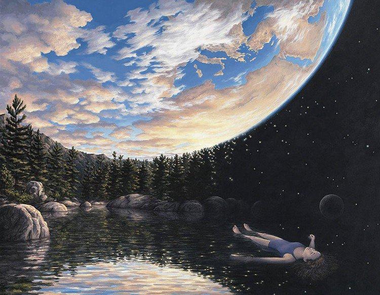 world sky woman floating