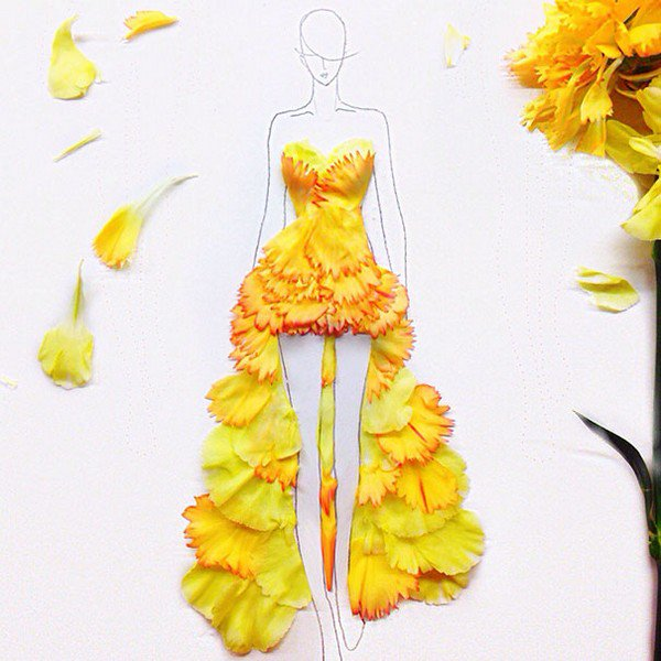 yellow spanish petal dress
