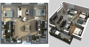 3D Apartment Plans 2 bedrooms