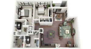 3D Apartment Plans 2 bedrooms