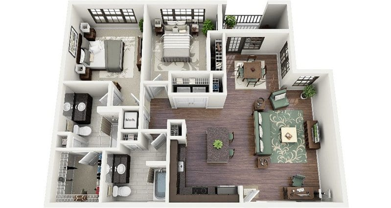 19 awesome 3d apartment plans with two bedrooms part 1 - Architectural plan of two bedroom flat with dining room ...