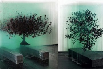 3D Trees sculptures Painted Glass