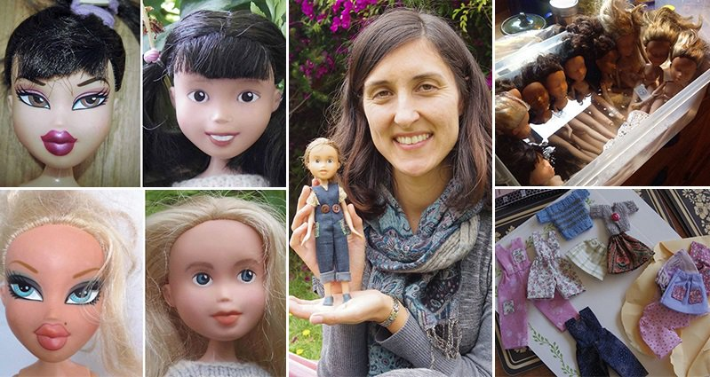 this australian mom removes the make up on bratz dolls to give