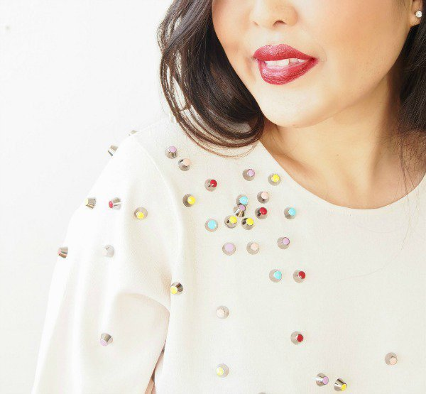 ChaneI-Inspired Top with Nail Polish and Studs