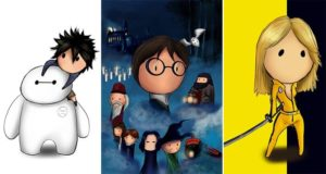 Classic Movie Posters Cartoon Style