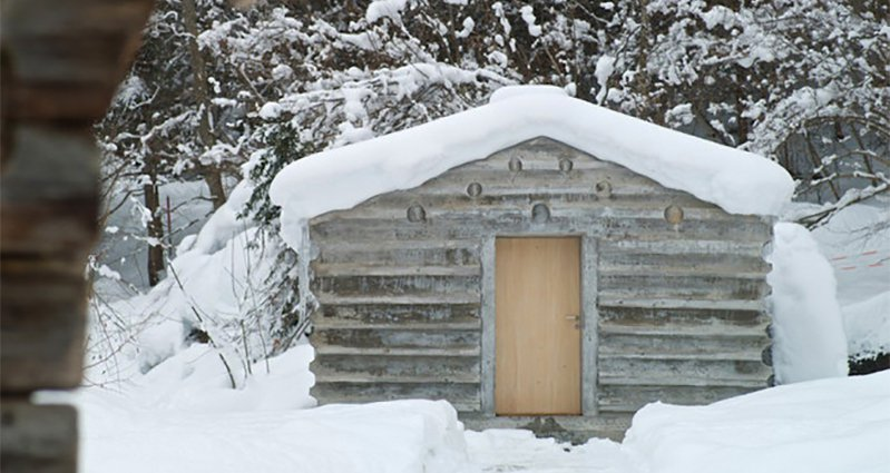 This might look like a regular log cabin but the truth is for Concrete log cabins
