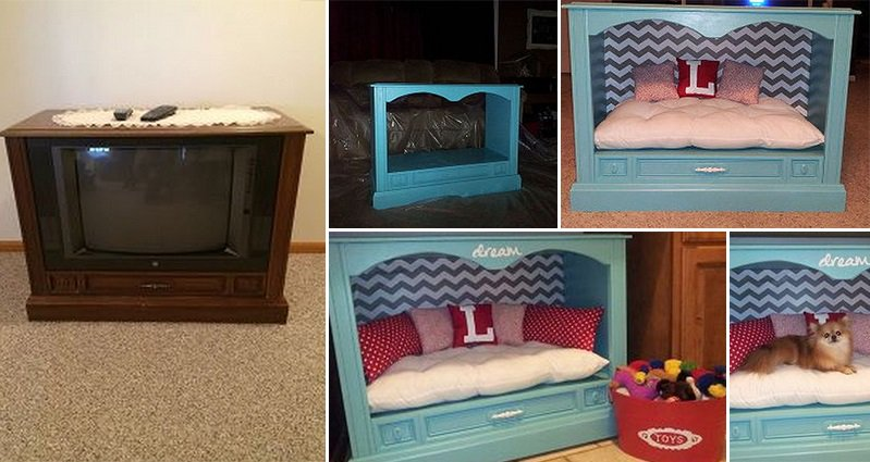 Dog Bed Made From Old Tv Cabinet