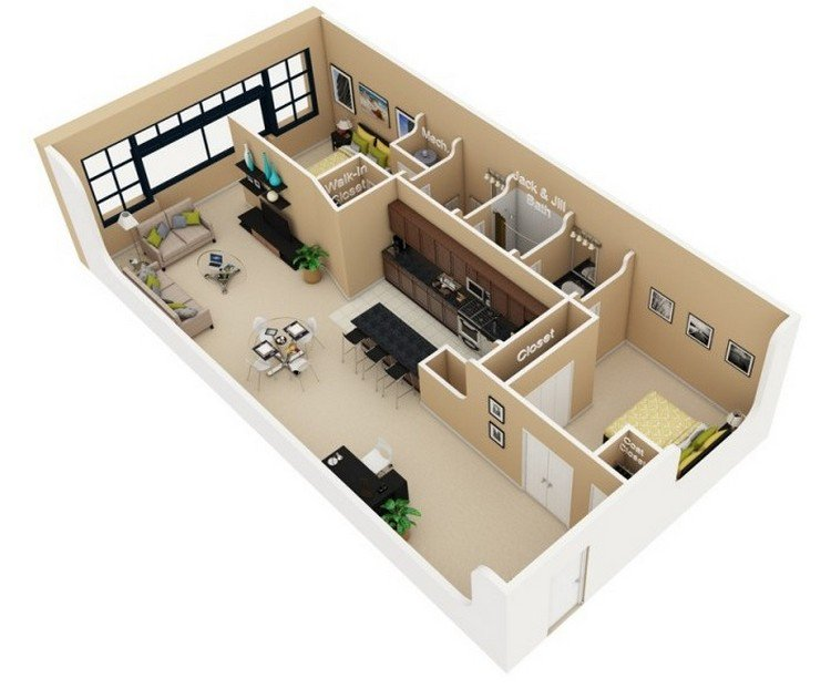 20 Awesome 3D Apartment Plans With Two Bedrooms - Part 2