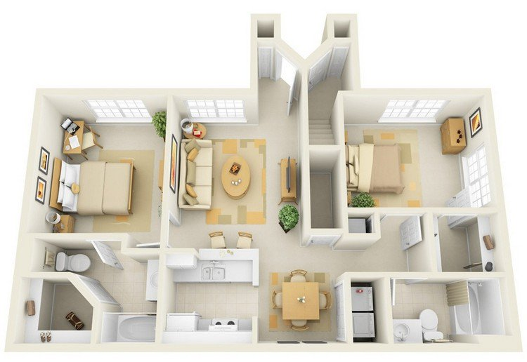 Incore Residential Two Bedroom Apartment Plan