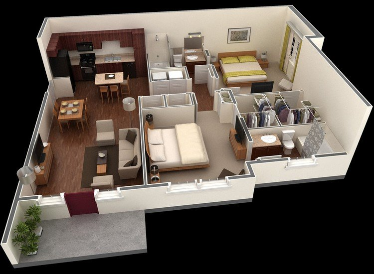 One Floor Apartments 20 awesome 3d apartment plans with two bedrooms - part 2